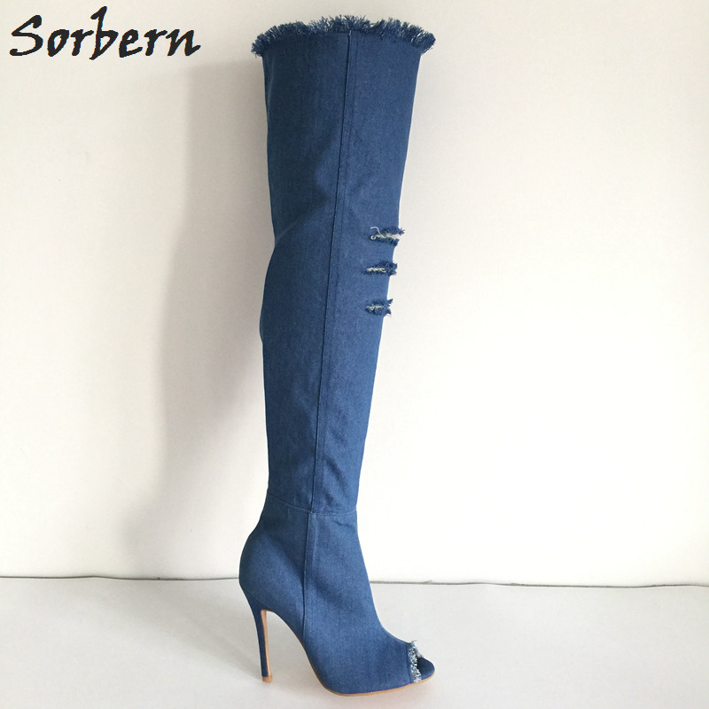 Sorbern Knee High Boots Women Hollow Out Peep Toe Spring Shoes Ladies Sexy High Heel Women Boots Custom Color Small Size 33-46 20 colors custom 2016 ladies silver crystal high heel bridal shoes peep toes size 10 free shipping