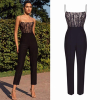 High Quality Black Bandage Jumpsuit Women Spaghetti Strap Bodycon Strapless Lace Celebrity Evening Party Jumpsuit Dropshipping