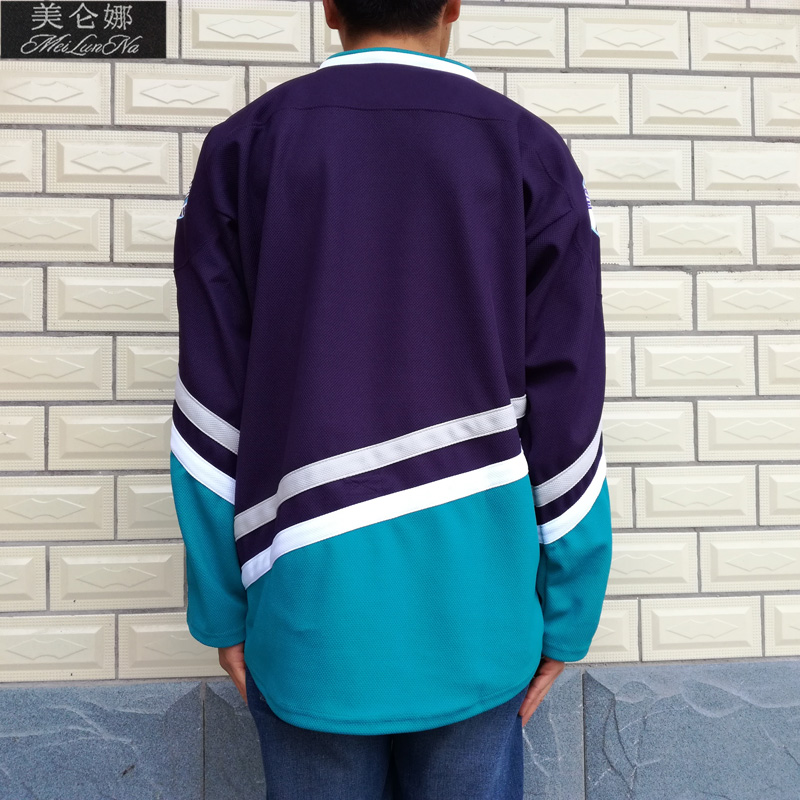 MeiLunNa Christmas Black Friday Mighty Ducks Movie Jerseys Blank No Name No Number 0002 Purple Green White Throwback