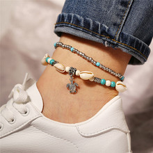 New Bohemian Turtle Pendant Double Anklets Silver Color Beads Ocean Shell Anklet For Women