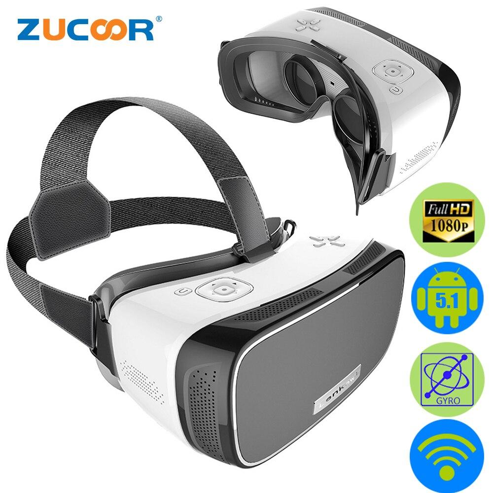 All In One V2 3D <font><b>VR</b></font> <font><b>BOX</b></font> Virtual Reality <font><b>Google</b></font> Cardboard <font><b>Movie</b></font> <font><b>Game</b></font> <font><b>Glasses</b></font> 5.5 inch IMAX Screen 1080P WiFi + Bluetooth Gamepad