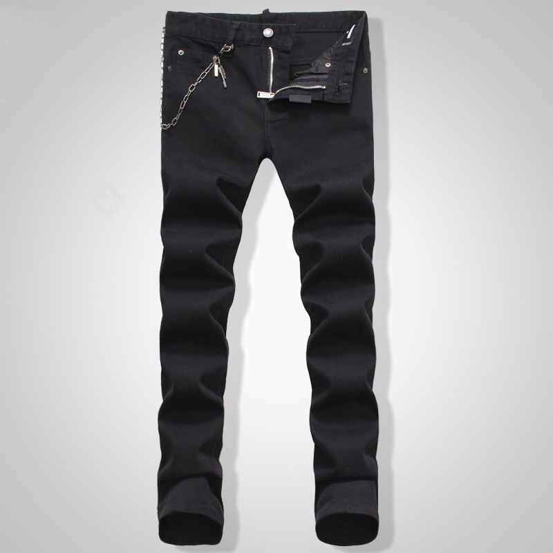 ФОТО 2017 New Style Men 's Biker Black Jeans Classic Men' S Fashion High Quality Iron Anchor Hole In Skinny Jeans Men Male Trousers D