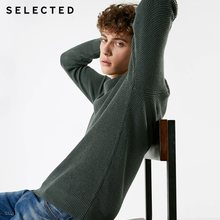 SELECTED Men's Winter Cashmere-blend Round Neckline Knitted Bussiness Casual Sweater S|418425531(China)