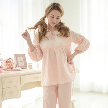 Free Shipping 2017 New Cotton Women's Pajamas Sets Long-Sleeve Sweet Lace Princess Female Sleepwear 2 Piece Set Home Clothes