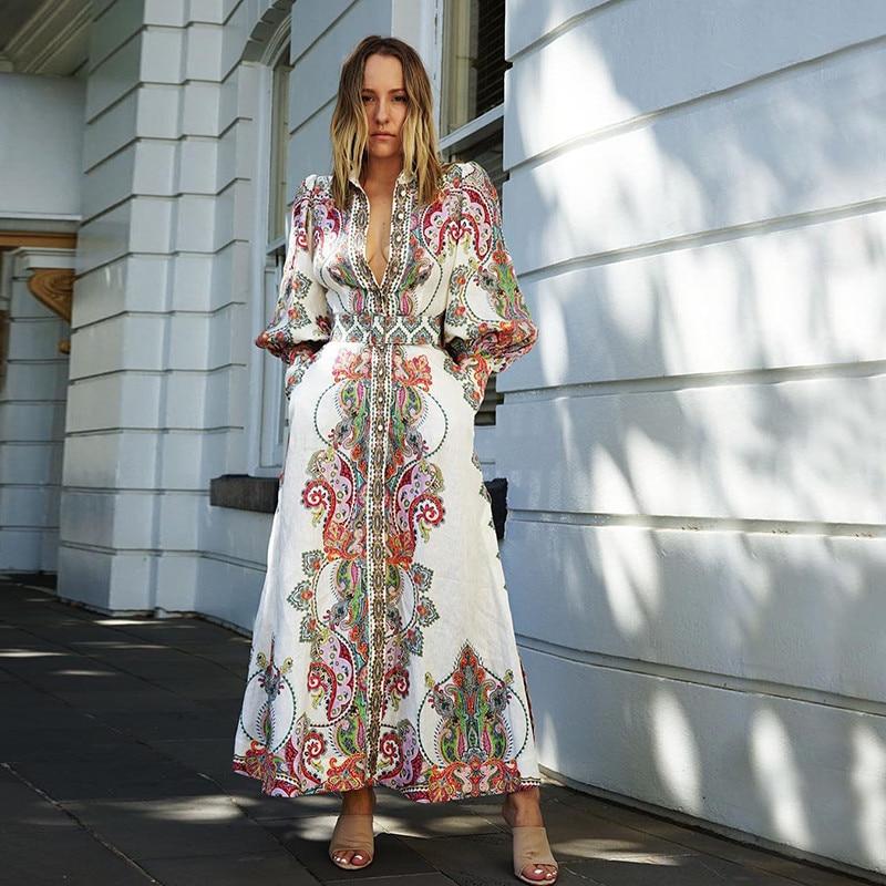 2019 new arrive cotton linen bohemina women long dress puff sleeve floral print beach party dress
