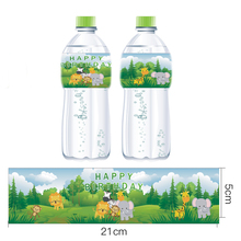 цена на Omilut 12pcs Jungle Party Mineral Water Bottle Label Safari Jungle Stickers Jungle Animal Birthday Bottle Label Stickers Supplie