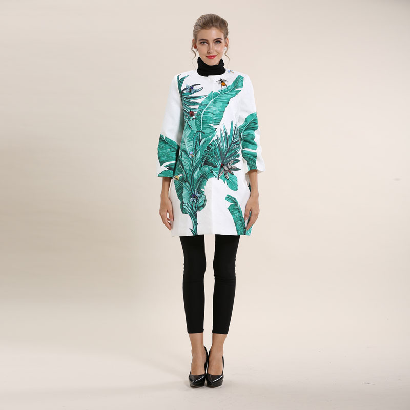 Kadın Giyim'ten Siper'de Avrupa Ve Amerika Birleşik Devletleri 2016 Sonbahar Ağır Manuel Boncuk Baskı 3 Çeyrek Kollu Gevşek Jakarlı Ceket S XXL'da  Grup 2