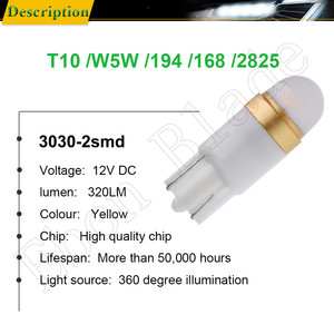 Image 2 - 2/4 Pcs Amber Orange Yellow 3030 2SMD W5W 194 T10 LED Bulb For Car Interior Map Dome Light 12V Auto Parking Position Turn Lamp