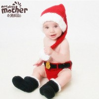 Baby Knitted Santa Claus Suits Crochet Costume Hats Caps Pants Set Newborn Baby Photo Props Christmas