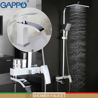 GAPPO shower faucet white basin sink faucet bath water sink crane tap rainfall shower set shower mixer tap bath tap mixers