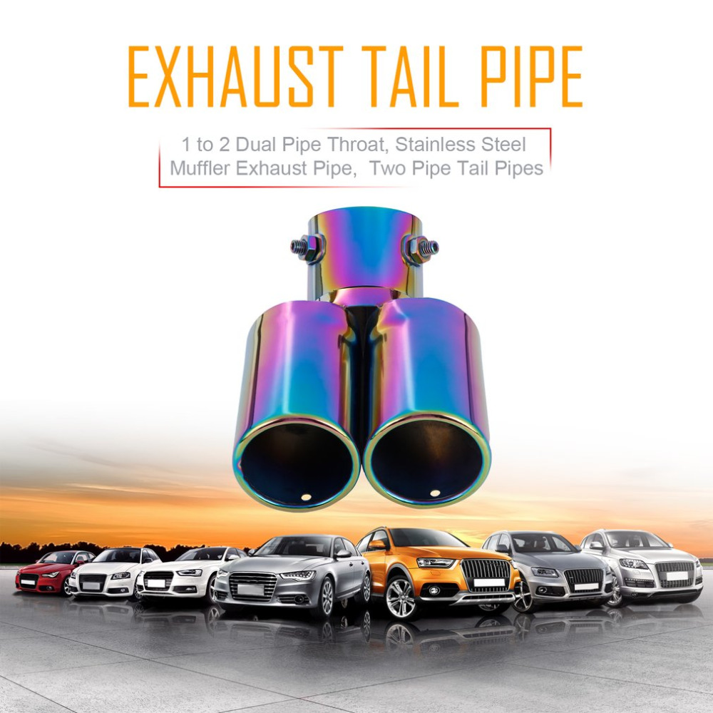 1 to 2 Dual Pipe Car font b Exhaust b font Tail Throat Two Pipe Tail