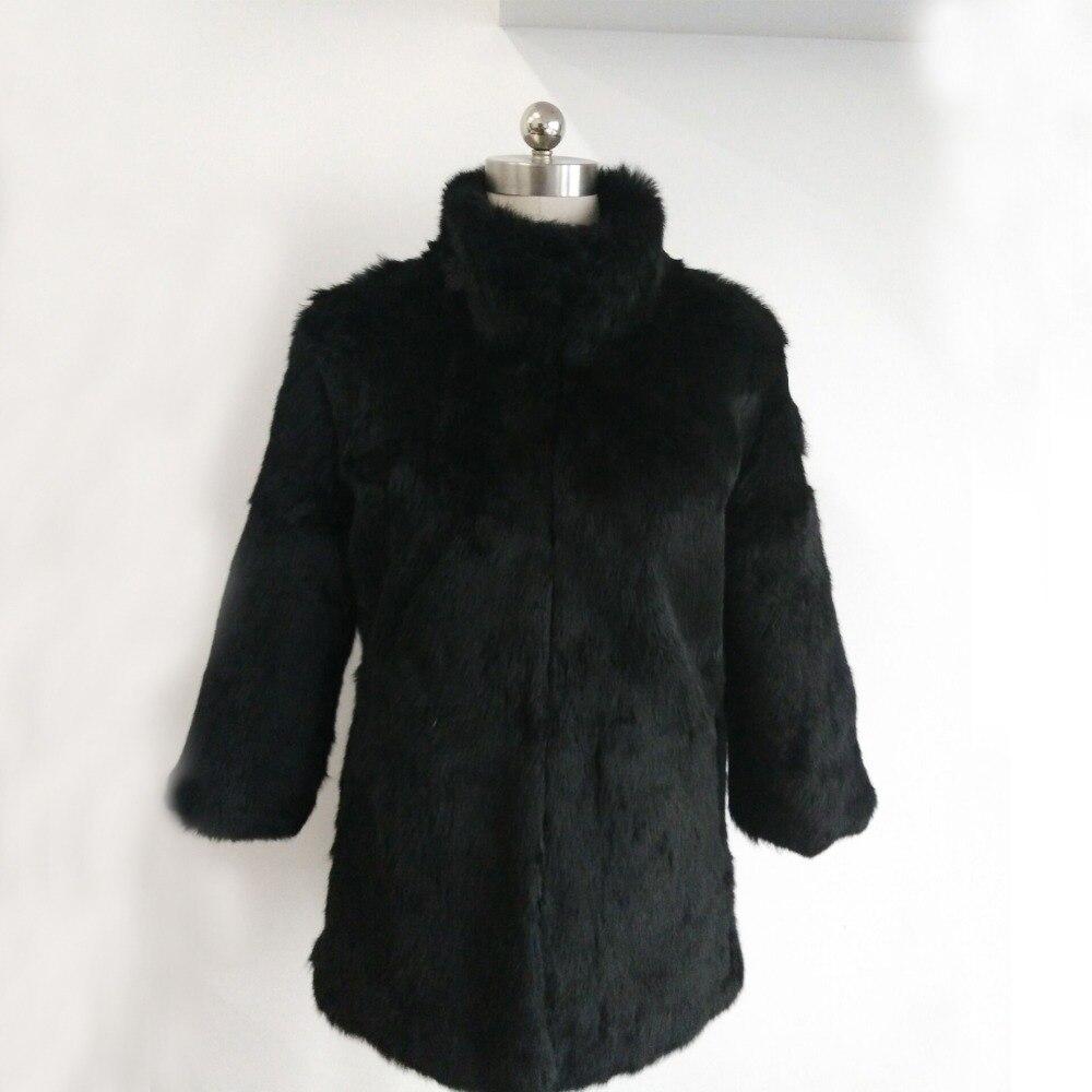 2019 New Brand Women Full Pelt Rabbit Fur Mandarin Collar Coat Whole Skin Rabbit Fur Standard Collar Jacket wholesale DSR16