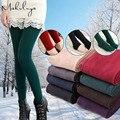 Makuluya 2016 outono inverno feminino além de veludo legging grossas calças térmicas além de calças compridas de arquivo passo calças de comprimento no tornozelo