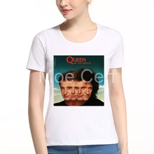 MOE CERF Rock Roll Queen Band T Shirt Summer Fashion Crown Printing Lady T Shirt Kawaii O-neck Couple Clothes Plus Size L9-O-42