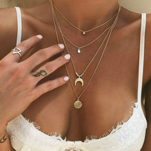 Power-Necklaces Pendants Jewelry Gold-Color Long-Moon Women for Tassel
