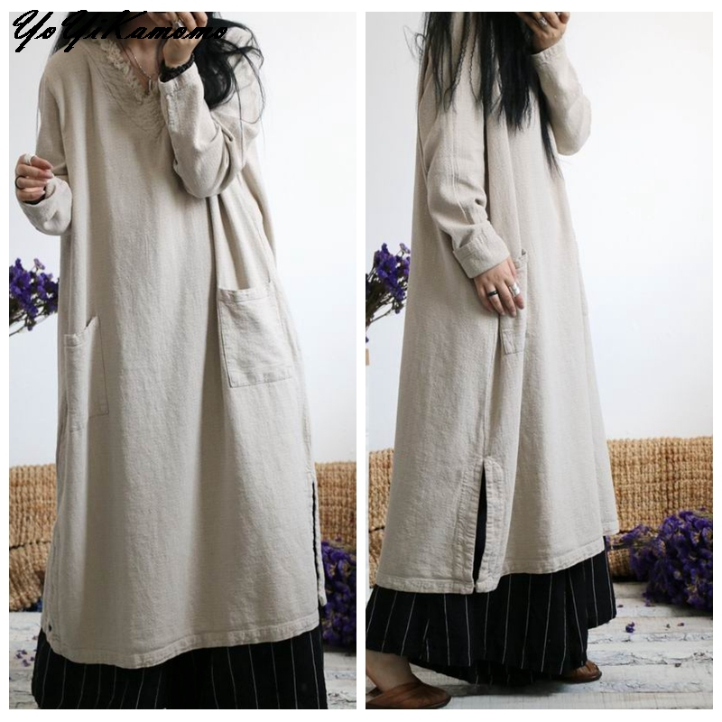YoYiKamomo Cotton Linen Dress Autumn Winter Women 2017 New Maxi Original V neck Loose Casual Women Robe-in Dresses from Women's Clothing    1