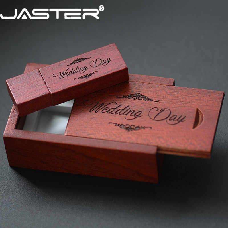 JASTER USB 2.0 顧客ロゴ木製 + ボックス USB フラッシュドライブカエデ材ペンドライブ 4 ギガバイト 16 ギガバイト 32 ギガバイト 64 グラム U ディスクメモリスティック送料無料