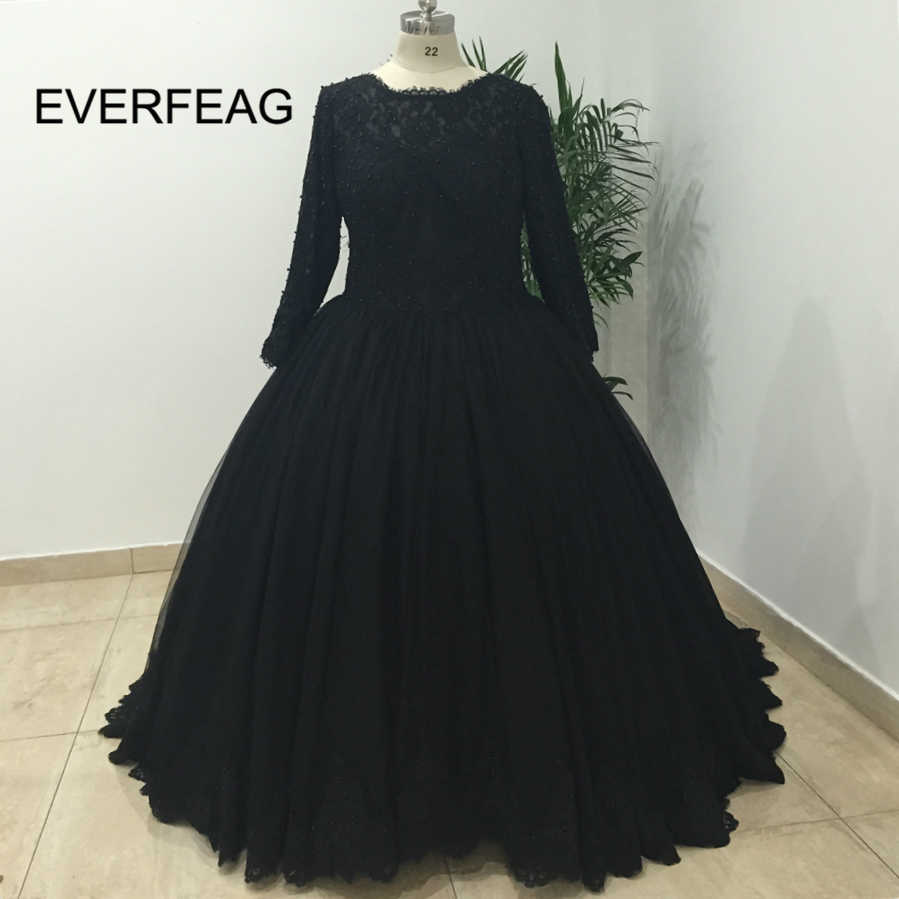 Black Long Sleeves Ball Gown Gothic Wedding Dress 2018 Lace Applique Pearls Wedding  Bridal Gowns robe 051519068989