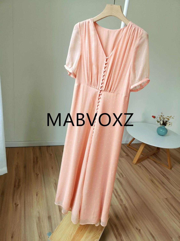 Kadın Giyim'ten Elbiseler'de Kadın Polka Dot Baskı Kısa Kollu Ipek Pembe uzun elbise V Boyun Ön Düğmeler Tatlı yaz elbisesi'da  Grup 1