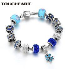 Toucheart браслет ручной работы с голубым шамбом и браслеты