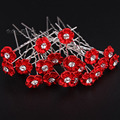 20pcs Lots Crystal Red Flower Rhinestone Hair Pins Clips Bridal Bridesmaid Wedding Wholesale Accessories Jewelry