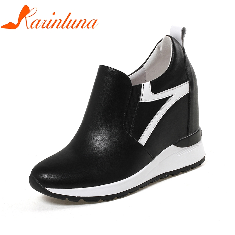 KARINLUNA 2018 New Cow Leather Plus Size 32-40 Super High Heels Women Shoes Woman Black Elastic Band Lady sneakers black leather look skater skirt with elastic band