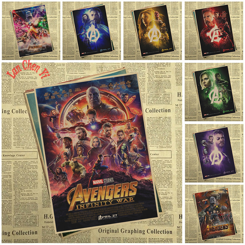 Avengers Infinity War 2018 Marvel Movie Superhero kraft paper poster Painting Print Home Decor Wall Picture