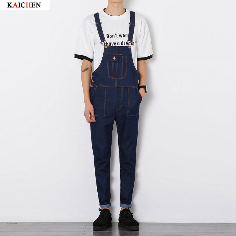 28662ba6bf4 New Adult Mens Blue Harlan Overalls Jumpsuit Suspender Pants Denim Overalls  Men Salopette Jeans Plus Size