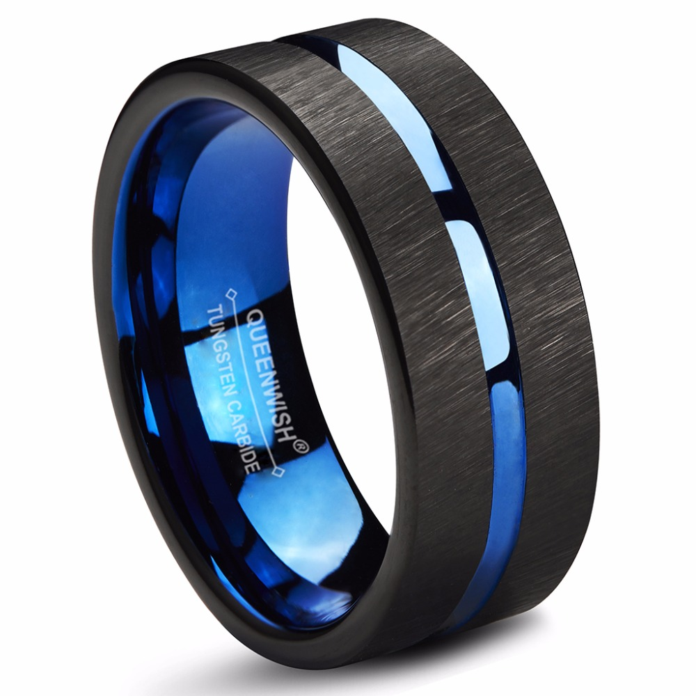 Queenwish tungsten rings 8mm wedding band blue center for Tungsten wedding ring reviews