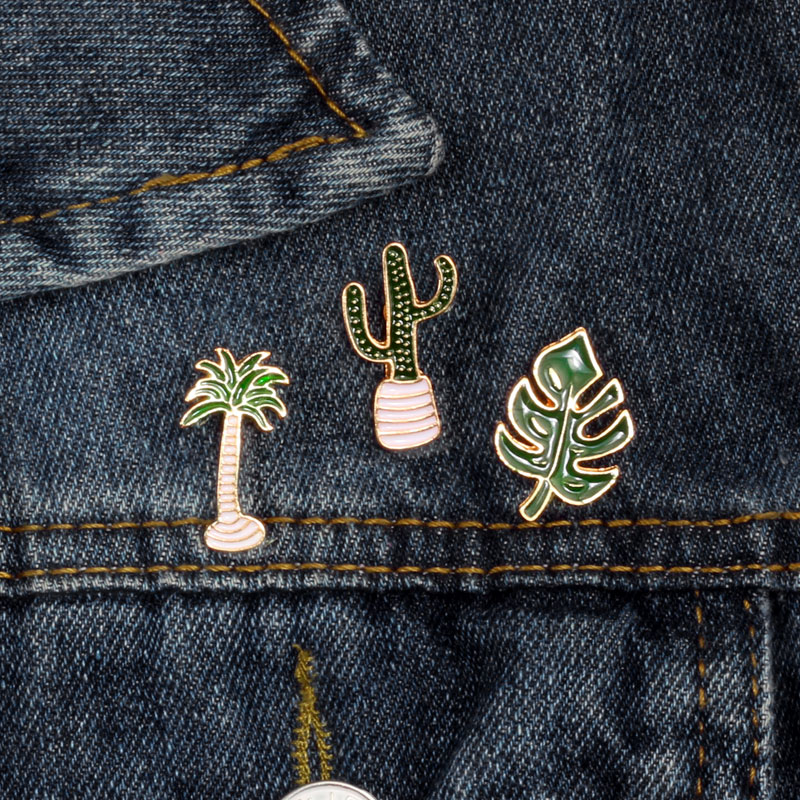 Cartoon Plant Brooches Green Mini Icon Coconut Tree Cactus Leaves Bean Sprouts Saplings Metal Badge Men Lapel Pin Enamel Jewelry