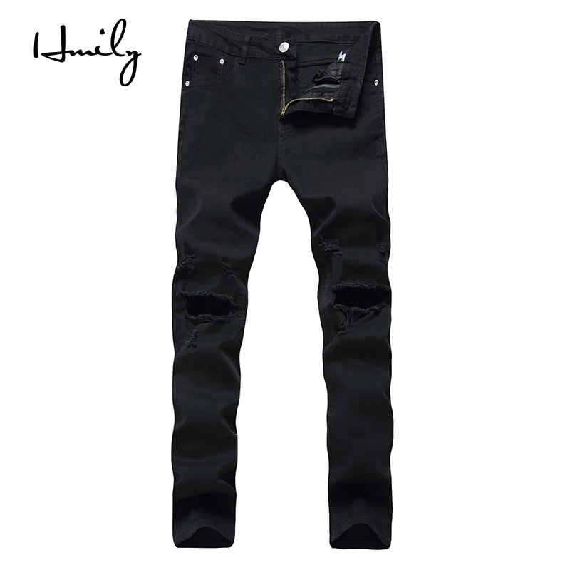 HMILY Fashion Mid Waist Cross Pants New Men Jeans Hole Solid Ripped Distresses Washed Hole Pants Slim Cotton Trousers