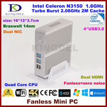 Kingdel безвентиляторный Мини-ПК, NUC тонкий компьютер, HTPC, Intel Celeron N3150 braswell Процессор, 4 ГБ Оперативная память, 64 ГБ SSD, 2 * HDMI, 2 * NIC, 4 * USB3.0, windows10