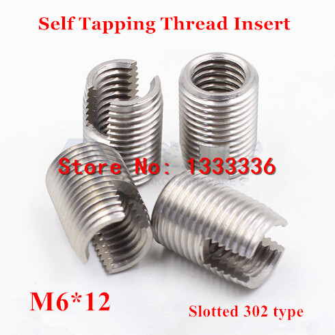 20pcs M6*1.0*12 (L) Self Tapping Thread Insert, 302 Slotted Type Stainless Steel Screw Bushing M6 Wire Thread Repair Insert