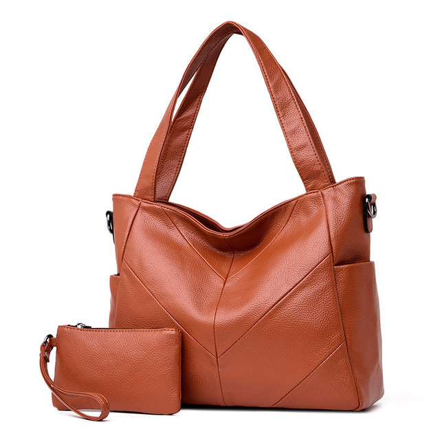 2 Sets Big Leather Tote...