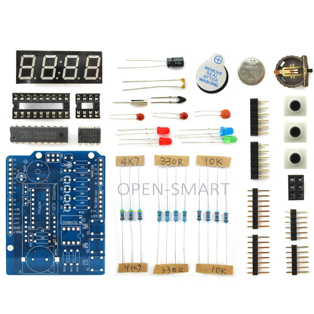 OPEN-SMART Clock Shield Kit RTC Display Expansion Board w/ Light Sensor / LED / Soldering Guide for Arduino 5v 2 channel ir relay shield expansion board for arduino