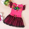 2016 Nuevos Bebés de La Manera Mini Vestido de Niñas Vestidos Del Tutú Del Verano Del O-cuello Ocasional Niños Niños Ropa de Verano
