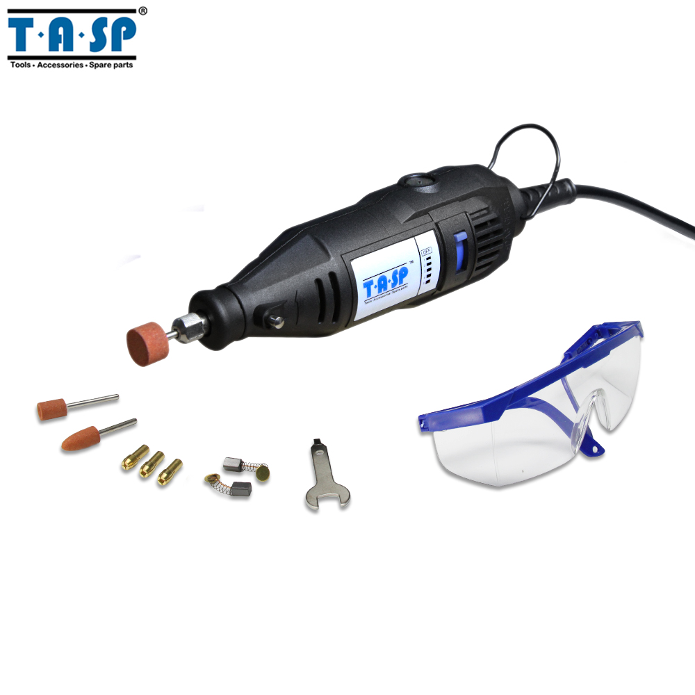 купить TASP 220V 130W Electric Rotary Engraver Tool Set Mini Drill Grinder with Accessories Power Tools по цене 1563.26 рублей