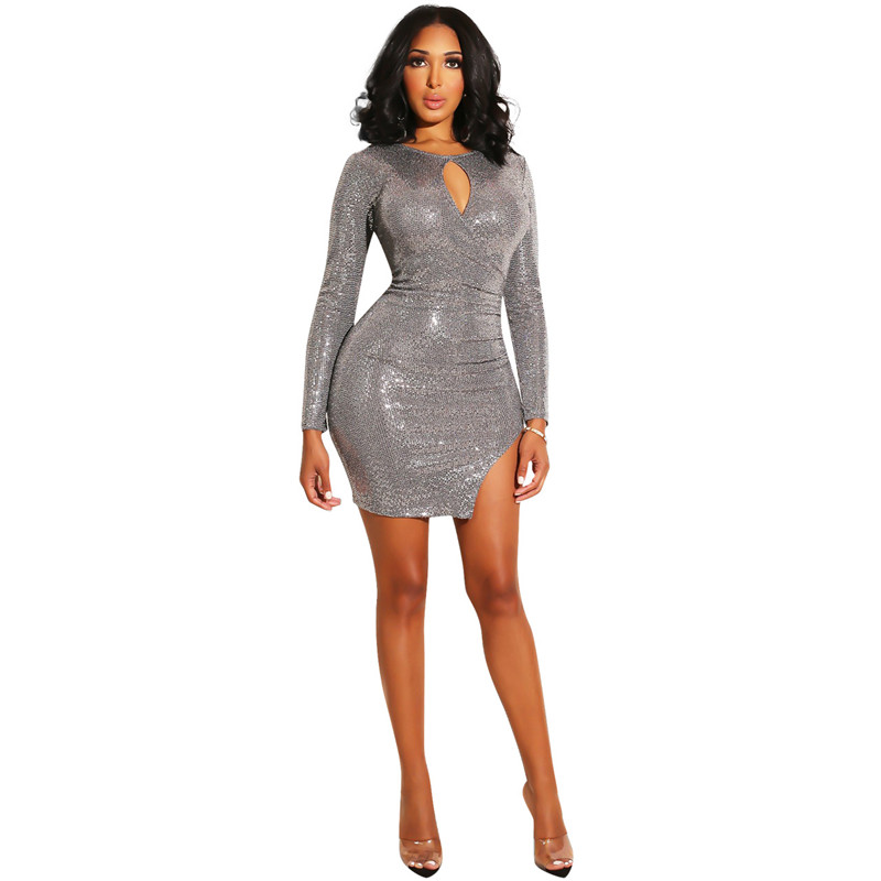 exclusive shoes various design discount sale US $13.89 45% OFF|Long Sleeve Silver Glitter Dress Women Elegant Side Split  Sexy Party Dresses Bling Bling Sparkly Bodycon Mini Dress Clubwear-in ...