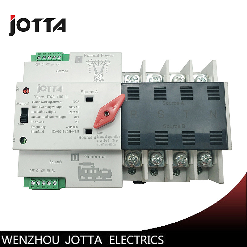 Jotta W2R 4P Mini ATS Automatic Transfer Switch 100A 4P Electrical Selector Switches Dual Power Switch