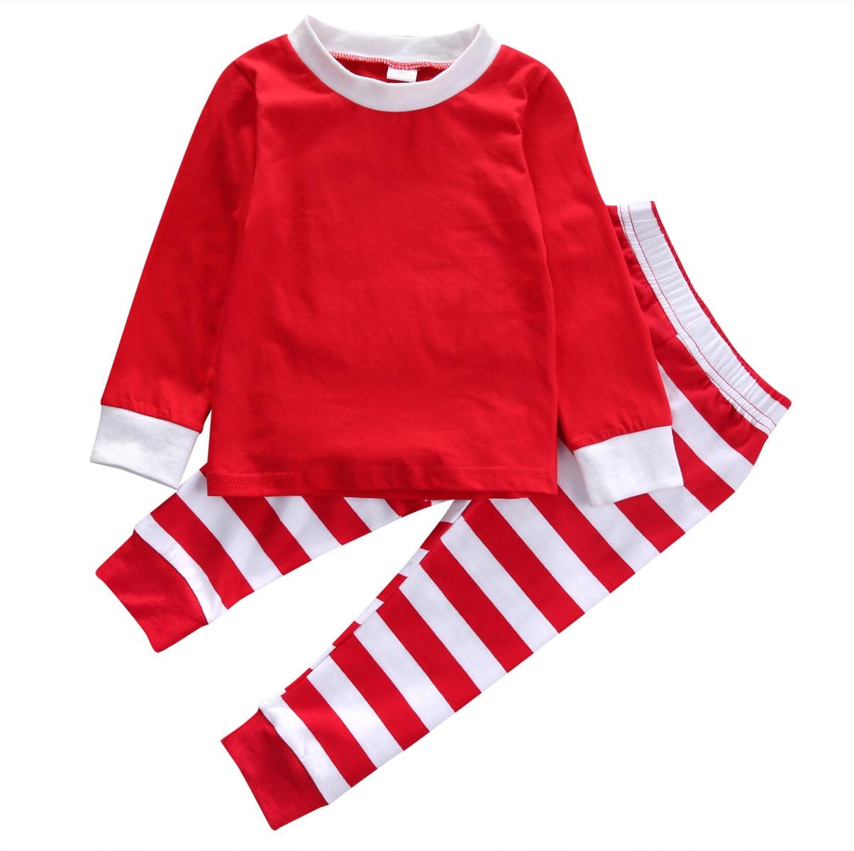 2 adet çocuk Pijama set!! Bebek Erkek Kız rahat sıcak uzun kollu Noel T-gömlek + uzun çizgili pantolon