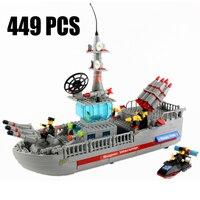 Très Grand Militaire Navires de Guerre Blocs de Construction 449 Pcs Briques Jouets Éducatifs Modèle Kits de Construction DIY Marines Bloc Enfants Cadeau