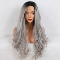 Fantasy Beauty Ombre Gray 2 Tones Synthetic Lace Front Wig Dark Roots Long Natural Wave Silver Grey Replacement Full Wig
