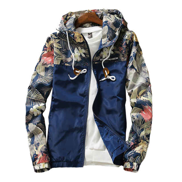 Jackets Men Windbreaker 2019 Spring Autumn Floral Printed Fashion Men's Hooded Casual Jackets Male Coat Thin Men Coat Outwear