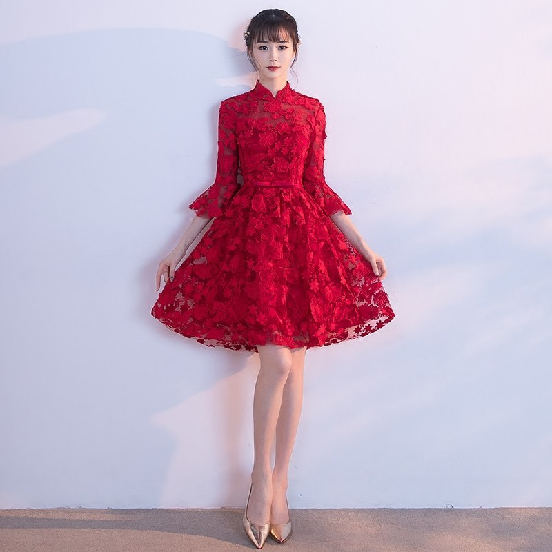 Vêtements chinois traditionnels pour femmes moderne rouge Cheongsam longue Qipao chine Robe Style Oriental robes Robe Chinoise Soie