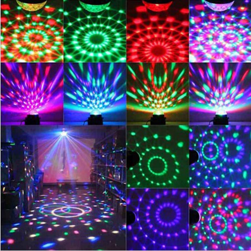 8w 48leds seven color sun pattern plastic stage lamp ac 90 240v - Magic Color Led Stage Lights Ktv Dj Chirstmas Lamps 3w Sound Actived Crystal Disco Ball Xmas