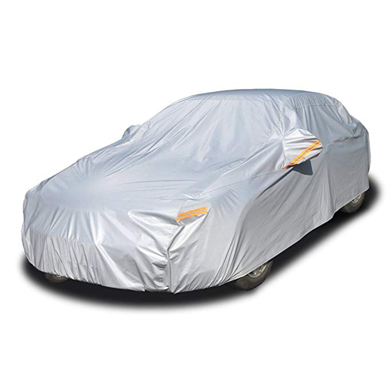 Kayme Multi-Layer Full Car Cover Waterproof All Weather With Zipper Cotton, Outdoor Rain Snow Sun Uv Protection Fit Sedan Suv