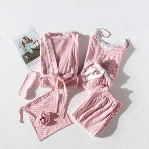 Image 2 - JRMISSLI レースの女性のパジャマ 7 個綿のパジャマセットはシルクホームウェア固体睡眠ラウンジセクシーなピンクパジャマナイトウェア