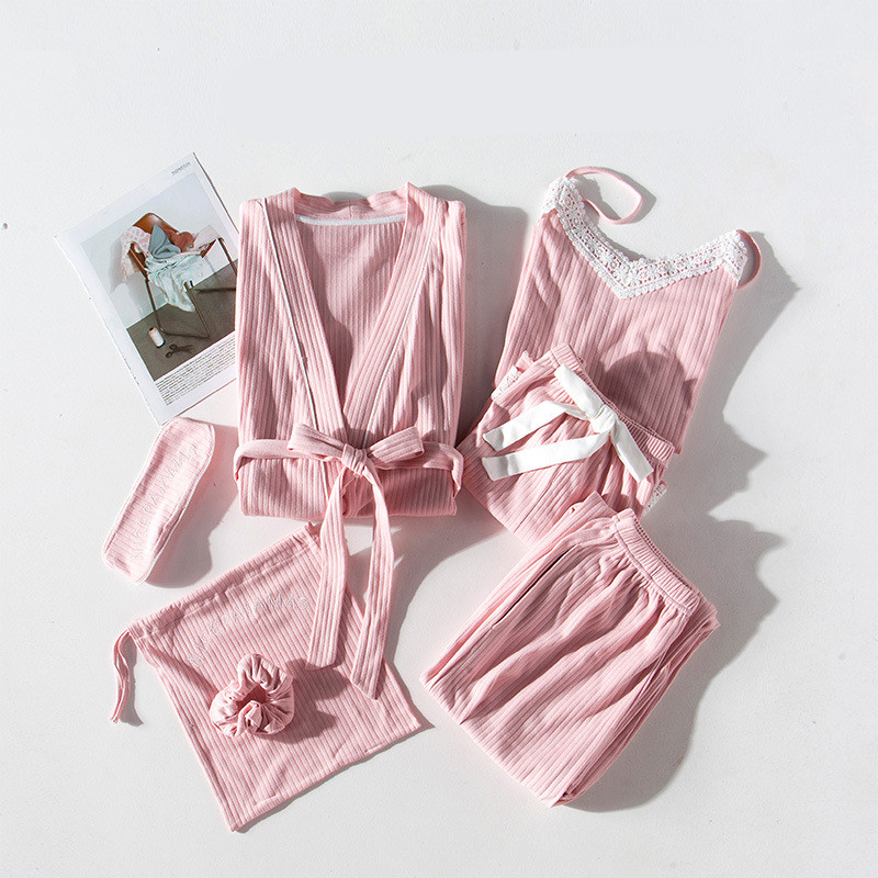 Image 2 - JRMISSLI Lace Women Pajamas 7 Pieces Cotton Pajama Sets Sleepwear Silk Home Wear Solid Sleep Lounge Sexy Pink Pyjamas Nightwear-in Pajama Sets from Underwear & Sleepwears