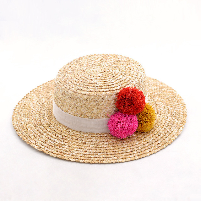 Muchique Women Boater Hats with Raffia Pom Poms Wheat Straw Summer Sun Hats  for Girls 99581a6133b