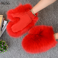 Fashion Teenager girl Gloves Real Fox Fur Student Mitten Cute Warm Winter Wrist Length Accessories Comfortable Soft  SF13060-2